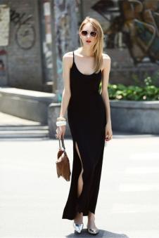 瑞内尔黑色吊带连衣裙