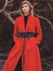 唯简尚女装秋冬新款红色大衣