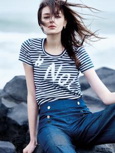如缤女装2016新品条纹T恤