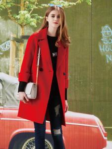 香影红色毛呢大衣