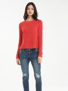 一本衣物秋季红色针织衫