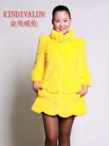 金帝威伦新款鲜黄时装貂皮