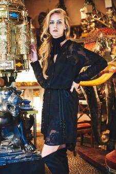 戈莱薇黑色印花连衣裙