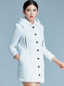 艾丽哲白色单排扣羽绒服