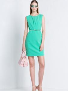 2016宝姿女装新款绿色连衣裙