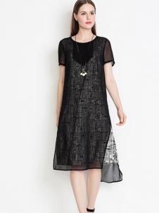 YINER音儿 2016夏装新款黑白艺术印花连衣裙