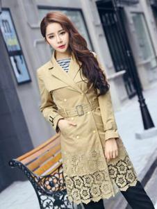 2016印象工坊女装新款米黄色风衣