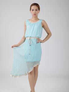 格蕾诗芙蓝色连衣裙