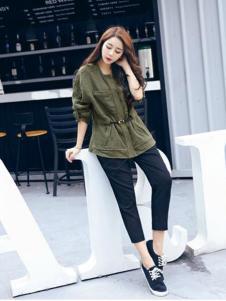 2016印象工坊女装新款军绿色外套