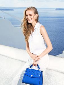 骆驼皮具2016新品蓝色翻盖手提包