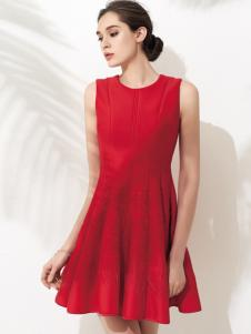 允硕红色无袖连衣裙
