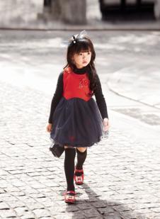 EM7女童拼接蓬蓬裙