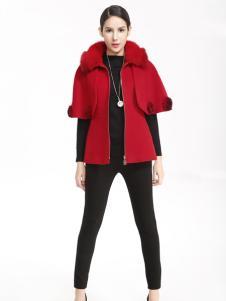 维娜红色中袖外套