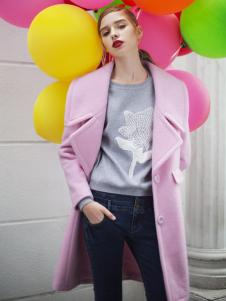 莎斯莱思粉色毛呢外套