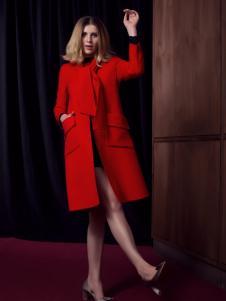 法国图案女装红色毛呢外套