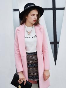城市衣柜粉色毛呢外套