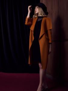 法国图案女装翻领大衣