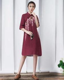 娅玛诗红色连衣裙