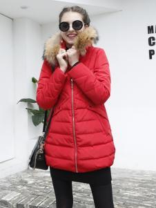 城市衣柜红色羽绒服
