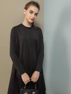 弗卡黑色宽松连衣裙