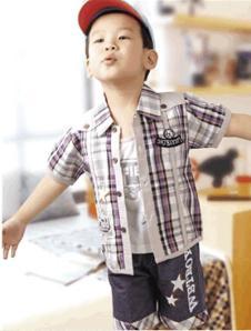 旺贝特男童格纹衬衫