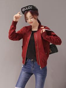 红雨竹红色秋装夹克