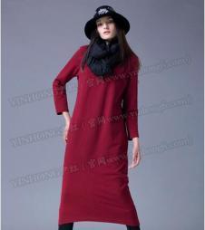 尹红女装红色H版连衣裙