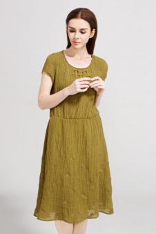 述色女装棉麻连衣裙