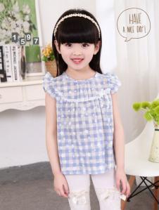 旺贝特女童格纹T恤