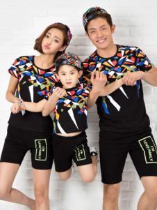 52017亲子装新品黑色印花T恤