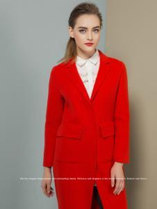 弗卡红色毛呢大衣