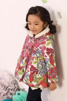 茶子树女童印花棉衣
