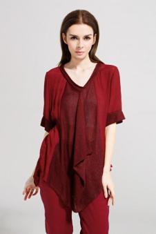 述色女装红色T恤