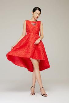 茉诗可可红色连衣裙 款号258373