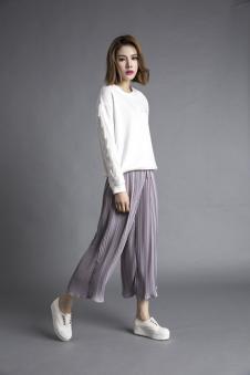 3d女装百褶阔腿裤