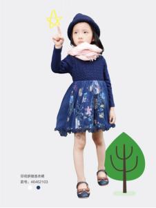 乔克叔叔女童印花拼接连衣裙