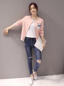 红雨竹粉色圆领外套
