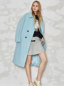 必芙丽蓝色毛呢大衣