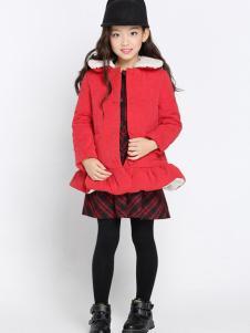 希比兒童装2016新品红色棉衣