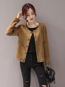 红雨竹棕色短外套