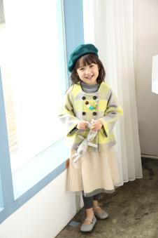 青木童女童格纹外套
