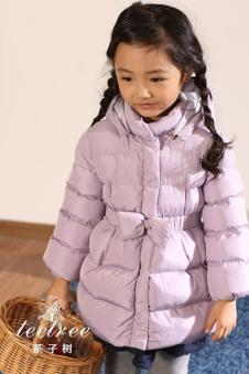 茶子树女童紫色羽绒服