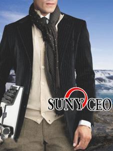 SUNY CEO男装条纹西装