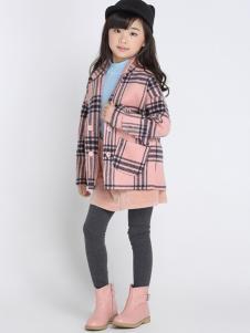 希比兒童装2016新品格子呢大衣