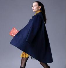 尹红女装蓝色毛呢大衣