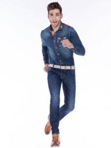 BSO蓝古威男士牛仔衬衫
