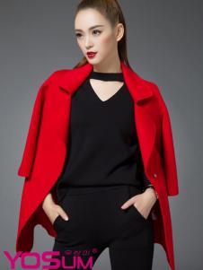 优尚美红色毛呢外套
