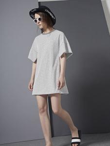 e.15女装2016新品条纹裙