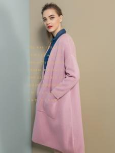 弗卡粉色毛呢大衣