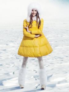 必芙丽黄色A字版型羽绒服